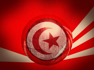 tunisia national flag on stucco textured sphere