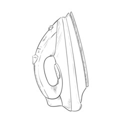 Vector sketch hand drawn of steam iron
