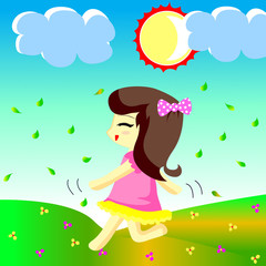Happy girl runs in the garden in the morning