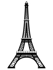 French Eiffel Tower. Silhouette of Paris landmark