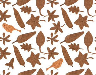 Seamless pattern of leaves, various shapes and bird