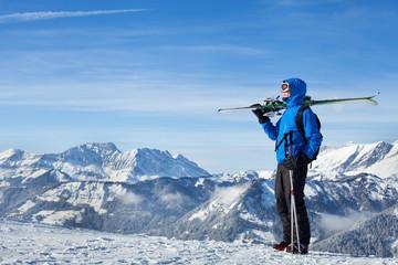 freestyle skiing in Alpine mountains