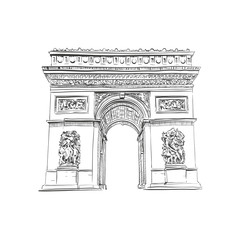 Triumphal Arch in Paris, France. Vector illustration
