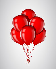 Red balloons bunch with ribbon isolated. Vector illustration