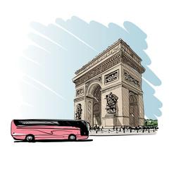 Triumphal Arch in Paris, France. Vector illustration
