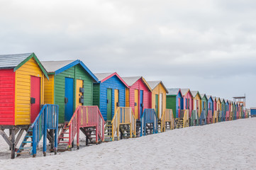 Multi-colored beach huts at Muizenberg.