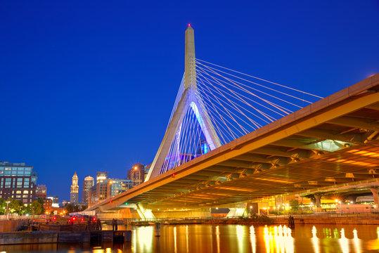Boston Zakim bridge sunset in Massachusetts