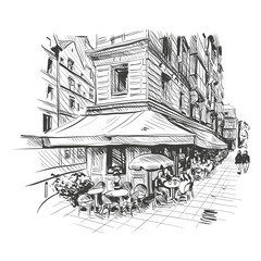 Paris outdoor cafe, vector illustration