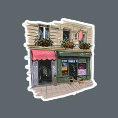 Paris outdoor cafe, vector illustration