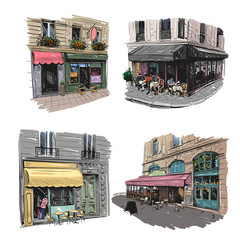 Paris outdoor cafe set, vector illustration