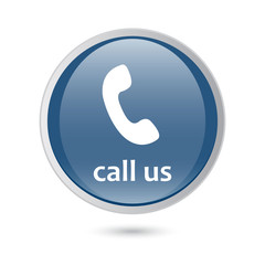 blue glossy web icon. call us icon phone sign.