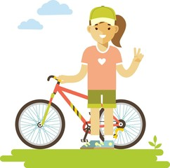 Young bicycle rider woman with bike in flat style