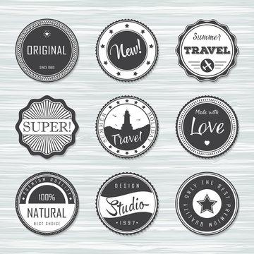 Vintage labels template set: super, original, new,  travel.