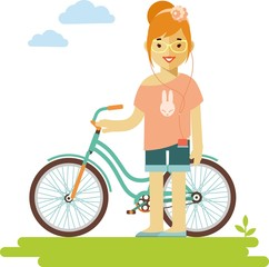 Young bicycle rider hipster woman with bike in flat style