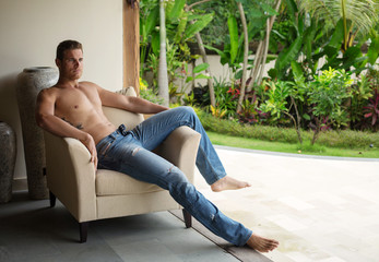 man in luxury villa