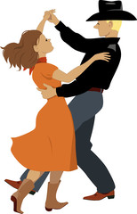 Couple dancing polka, contra-dance or country-western