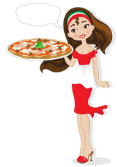 Pizzaiola su Sfondo Bianco