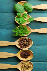 Wooden spoons with fresh herbs and spices