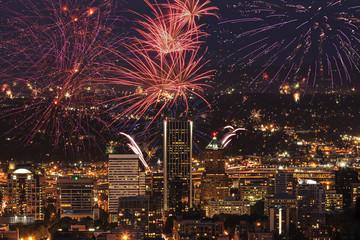 Wall Mural - Portland Oregon, USA Fireworks