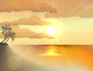 Sunset ocean summer beach with tropical palm tree