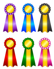 Colorful award ribbon rosette