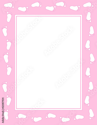 Baby girl footprints frame\
