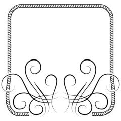 Vector knitting frame decorated with swirls. illustration on whi
