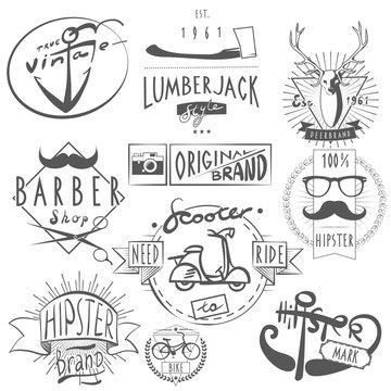 Hipster vintage labels set black