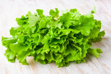 Fresh lettuce on a wooden table