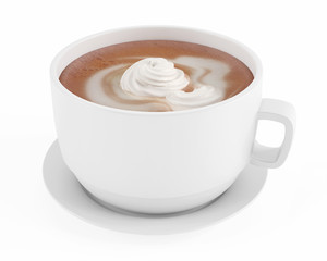 cup of coffee latte with cream