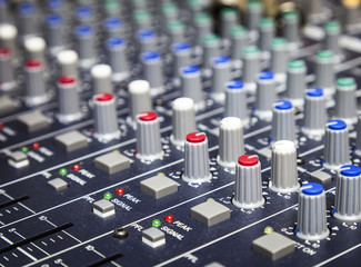 Music control buttons, Studio music mixer equipment