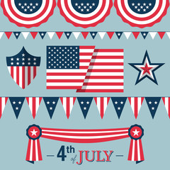 4th of July, Independence Day of the USA, decoration elements fo