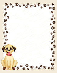 Paw prints border with dog