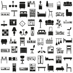 furniture black icons on white