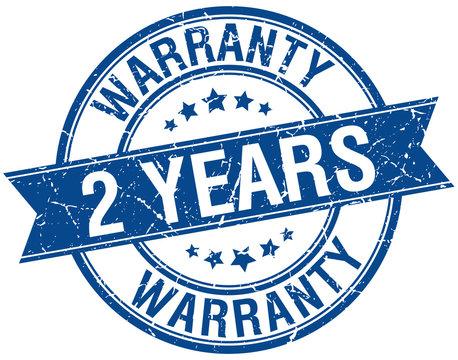 2 years warranty grunge retro blue isolated ribbon stamp