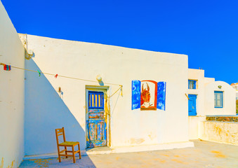 typical house in Oia at Santorini island in Greece