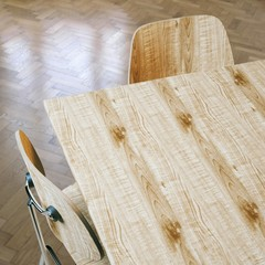 Wooden table with chairs and parquet flooring