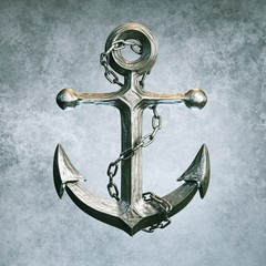 Highly detailed metallic anchor on grey background