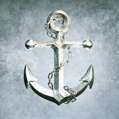 Highly detailed aluminum anchor on grey background