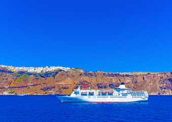 view from the sea of  caldera  in Santorini island in Greece