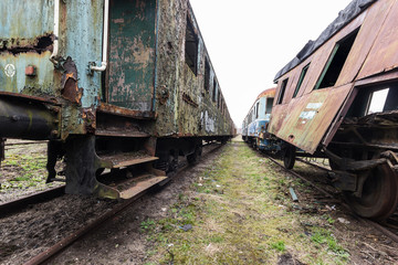 Destroyed railway wagon