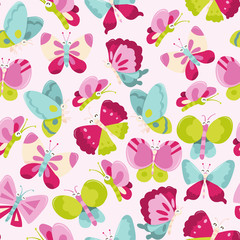Happy Sweet Butterflies Seamless Pattern Background