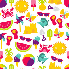 Retro Summer Time Fun Seamless Pattern Background