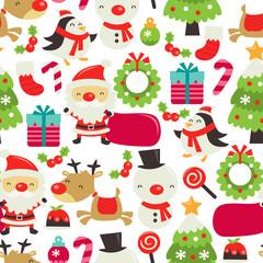 Retro Cute Christmas Seamless Pattern Background