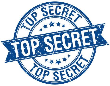 top secret grunge retro blue isolated ribbon stamp