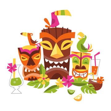 Vector illustration of Hawaiian luau party
