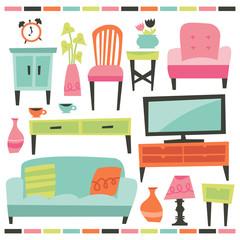 Retro Home Living Furniture Set