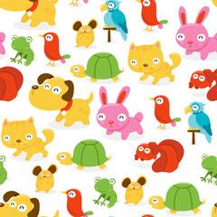 Happy Pet Shop Animals Seamless Pattern Background