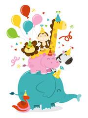 Happy Jungle Animals Party Celebration Stack