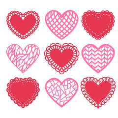 Heart shaped doilies decoration set